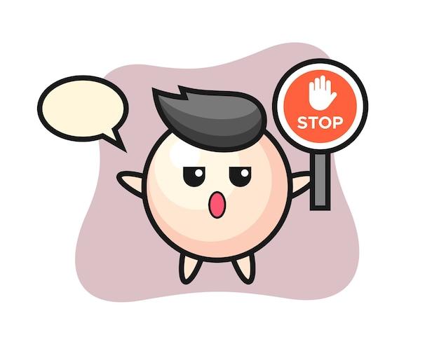 Fumetto del carattere della perla che tiene un segnale di stop