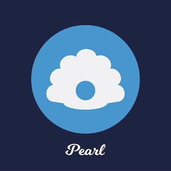 Disegno dell'icona piatto perla, elemento simbolo del logo