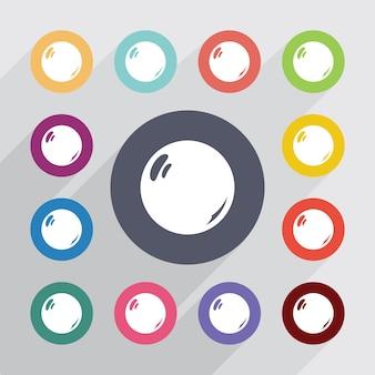 Perla, set di icone piatte. bottoni colorati rotondi. vettore