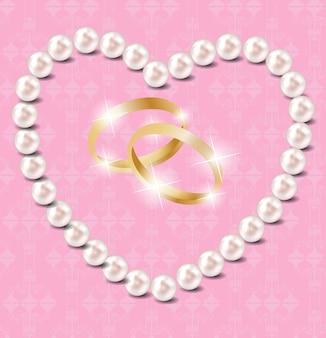 Fondo dell'illustrazione di vettore del cuore della perla