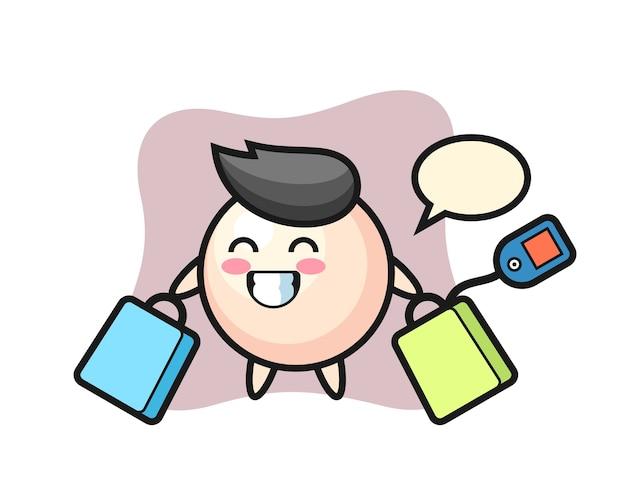 Fumetto della mascotte della perla che tiene un sacchetto della spesa