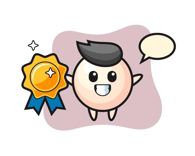 Illustrazione della mascotte della perla che tiene un distintivo dorato