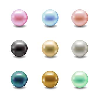 Set di perle. collezione di perle 3d di gioielli.