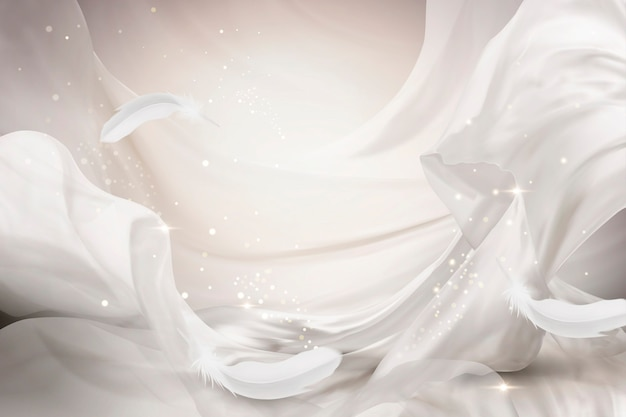 Design in chiffon bianco perla che vola con piume