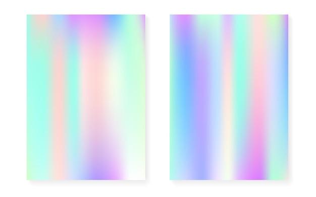 Sfondo perlescente con sfumatura olografica. set di copertine con ologramma. stile retrò anni '90 e '80. modello grafico per flyer, poster, banner, app mobile. set di sfondo perlescente arcobaleno.