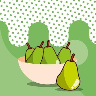 Pere in ciotola raccolta frutta gustoso sfondo punteggiato di sfondo