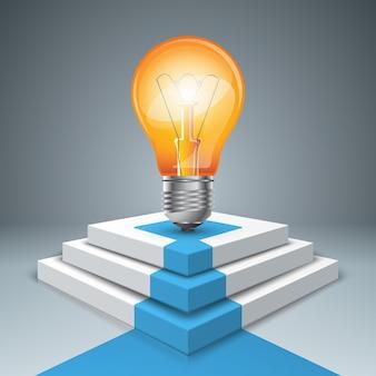 Piedistallo, lampadina per i vincitori - infografica di business. Vettore Premium