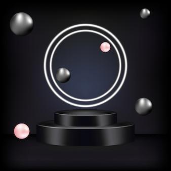 Piedistallo o piattaforma, sfondo nero per la presentazione di prodotti cosmetici.