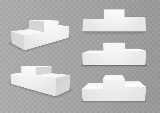 Piedistallo per vincitori con gradini vuoti. podio per una cerimonia di premiazione, stand per vincitori e campioni del concorso. piattaforma 3d isolata su uno sfondo trasparente. illustrazione.