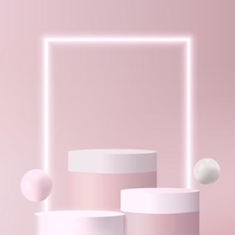 Piedistallo con sfera e luce al neon