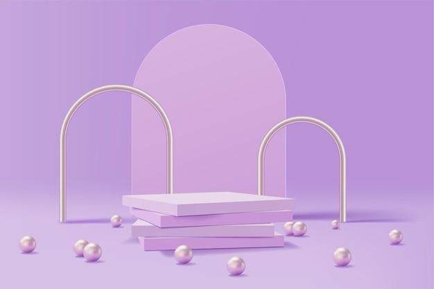 Piedistallo con perle di perle e archi in metallo
