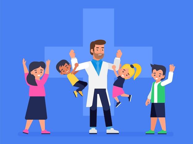 Medico pediatra e bambini sani felici