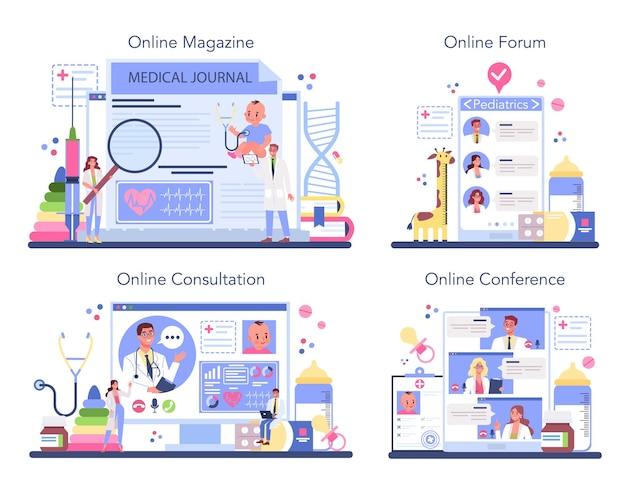 Servizio online di pediatra o set di piattaforme.