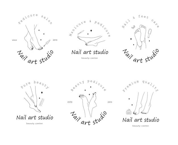 Modello di logo del salone di pedicure. concetto di cura del piede.