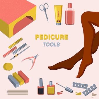 Kit di strumenti per pedicure. set di applicazione per pedicure e smalto da donna Vettore Premium