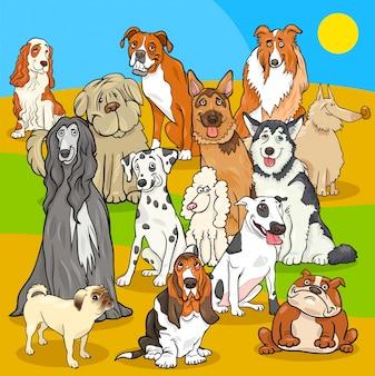 Gruppo di personaggi dei cartoni animati di cani di razza