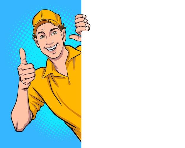 Impiegato di consegna che dà una occhiata all'uomo che dà il pollice in su in stile fumetto pop art