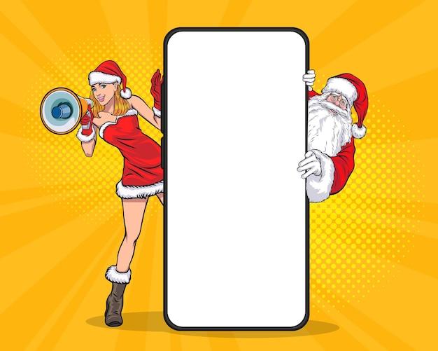 Sbirciare babbo natale con un grande smartphone e una ragazza di babbo natale che tengono il megafono in stile fumetto retrò pop art
