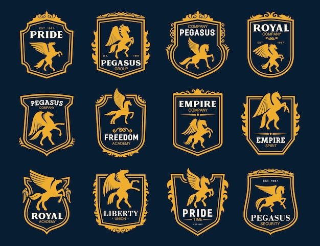 Icone di pegasus. simboli araldici di cavalli alati.