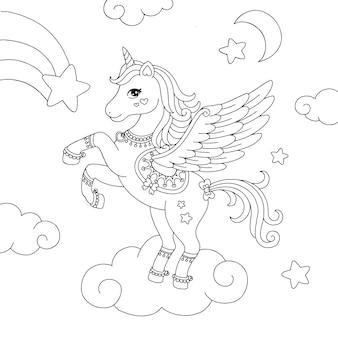 Pagina da colorare di unicorno pegasus