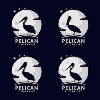 Logo del concetto di pellicano sulla luna