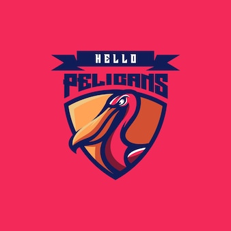 Design del logo pellicano per lo sport
