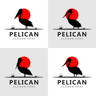 Vettore di design del logo pellicano