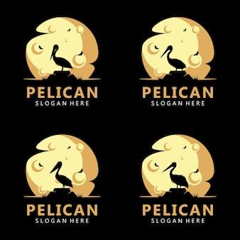 Logo del pellicano sulla luna