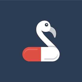Design del logo della capsula della pillola del pellicano