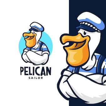 Design del logo del marinaio pellicano