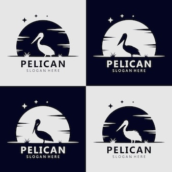 Concetto di logo silhouette pellicano