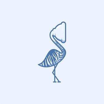 Design del logo della toilette aspirante pelican