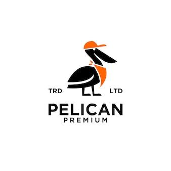 Illustrazione dell'icona del logo vintage pellicano vettore premium