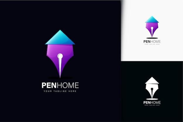 Disegno del logo della casa della penna con gradiente