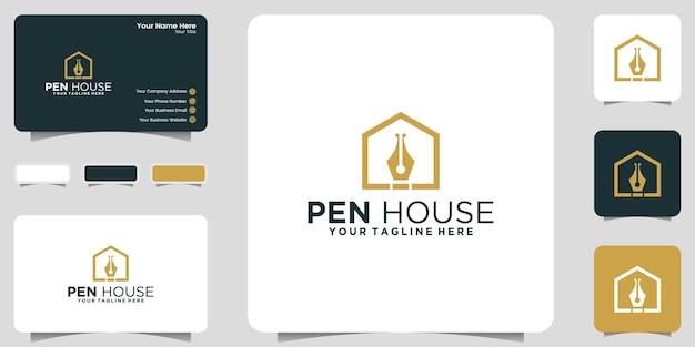 Logo creativo della penna e ispirazione per biglietti da visita