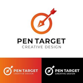 Inchiostro a penna con bersaglio freccia circolare per design di agenzia creativa design logo marketing