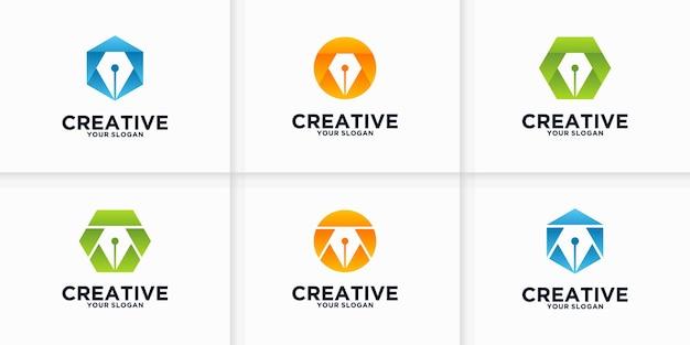 Collezione di riferimenti al logo della penna per affari, applicazioni, istruzione e altri