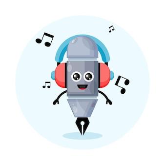 Personaggio mascotte penna con musica auricolare