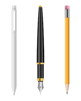 Penna e matita illustrazione set isolati su sfondo bianco