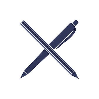 Icona di vettore di penna e matita. strumenti per ufficio.