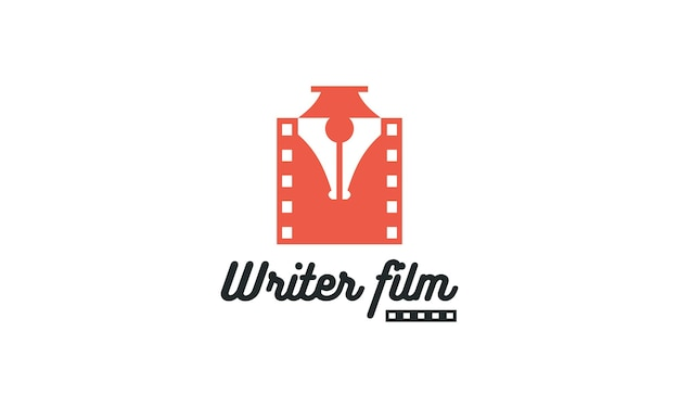 Logo di concetto di scrittore di film di penna scrittore