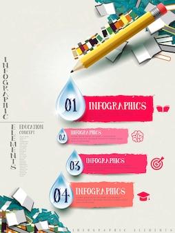 Disegno dell'opuscolo degli elementi infografici di matita e libri