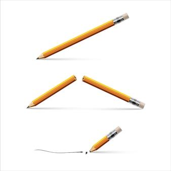 Matita, matita rotta e matita con una punta rotta isolata su sfondo bianco