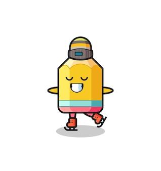 Cartone animato a matita come un giocatore di pattinaggio sul ghiaccio che si esibisce, design in stile carino per maglietta, adesivo, elemento logo