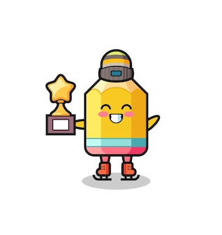 Il cartone animato a matita come un giocatore di pattinaggio sul ghiaccio tiene il trofeo del vincitore, un design in stile carino per maglietta, adesivo, elemento logo