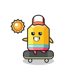 L'illustrazione del personaggio a matita cavalca uno skateboard, design in stile carino per maglietta, adesivo, elemento logo