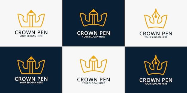 Logo di ispirazione corona a matita per simbolo educativo o scrittore intelligente