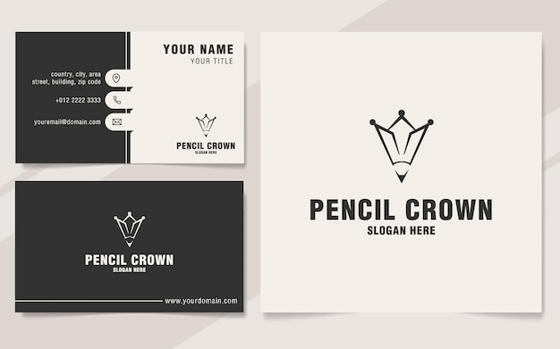 Modello di logo corona a matita su stile monogramma