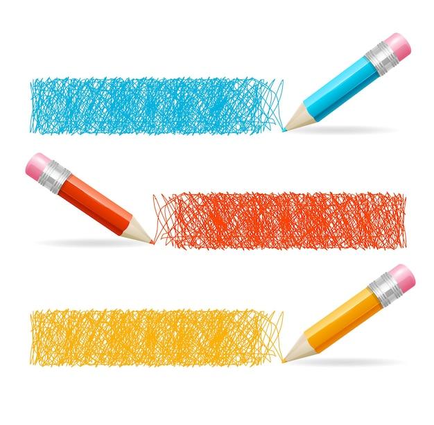 Intestazione del disegno a matita. set orizzontale.