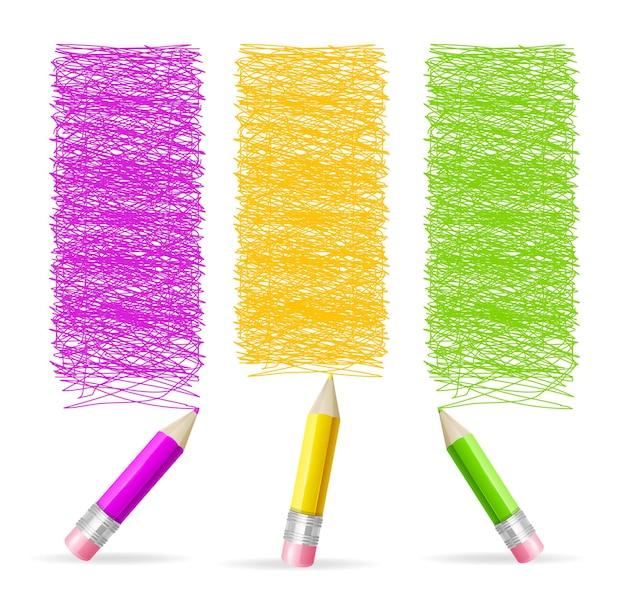 Intestazione del disegno a matita. set verticale.